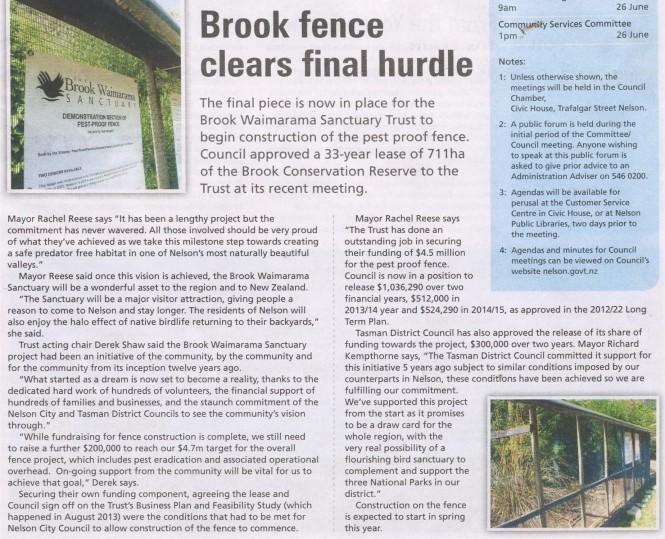 Nelson Live  14 June 2014 - Brook Sanctuary Fence