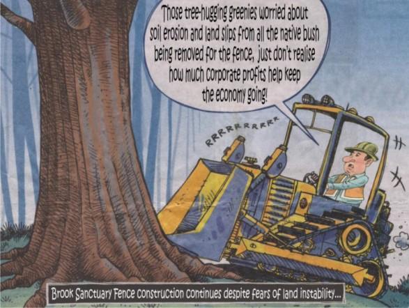 Bush destruction for Brook Fence